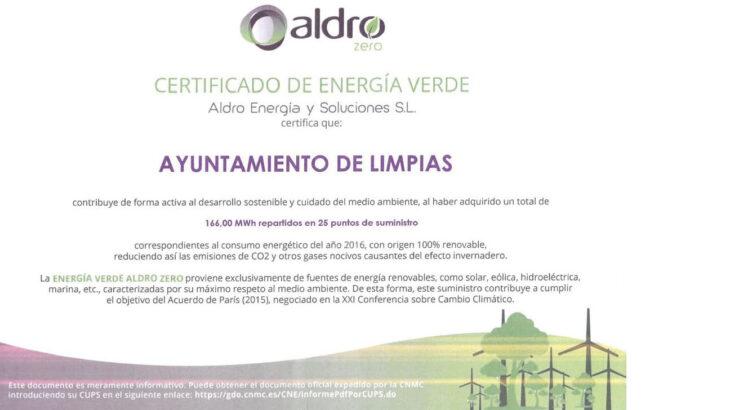 Certificado Energía Verde Limpias